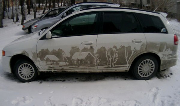 reverse graffiti car