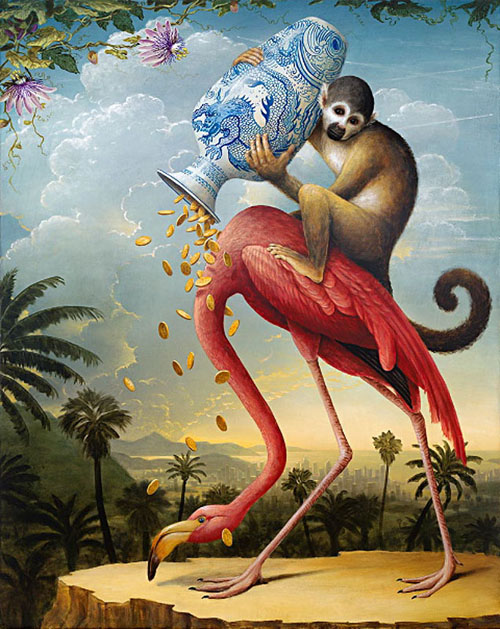 Monkey on a flamingo spilling coins