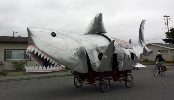 Kinetic sculpture shark
